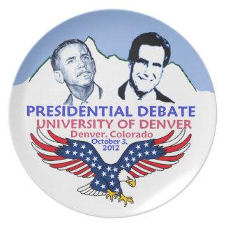 Discusión presidencial plato de cena