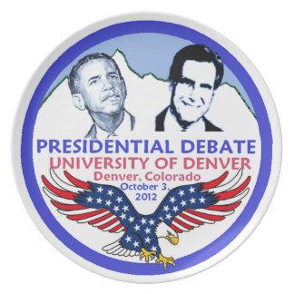 Discusión presidencial plato de comida