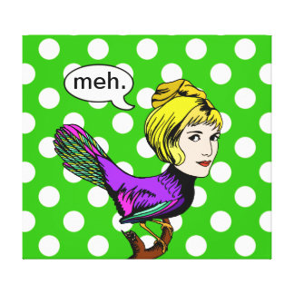Disdainful Anthropomorphic Bird with Polka Dots Canvas Print