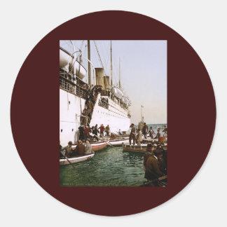 Disembarking from a ship Algiers Algeria Classic Round Sticker