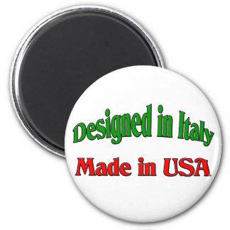 Diseñado en Italia. Hecho en los E.E.U.U. Imán Redondo 5 Cm