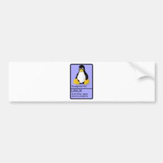 Diseñado para Linux Etiqueta De Parachoque