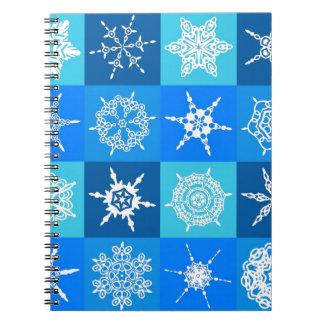 Diseñador azul de la colección de los copos de nie libro de apuntes con espiral