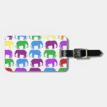 Diseñador con clase de los elefantes del arco iris etiquetas bolsas