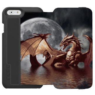 Diseñador de la fantasía del dragón y de la luna funda billetera para iPhone 6 watson