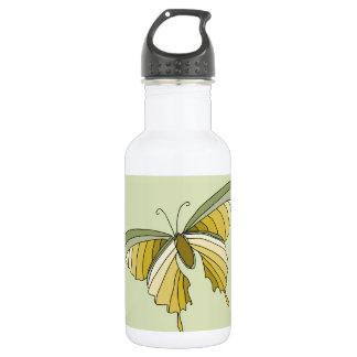 Diseñador de la mariposa del oro verde botella de agua