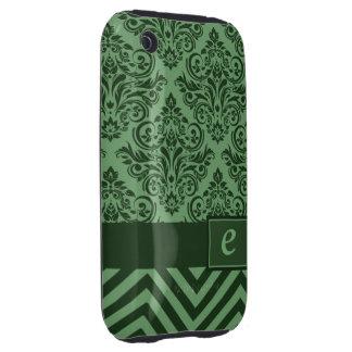 Diseñador de lujo de Chevron del damasco del iPhone 3 Tough Carcasa