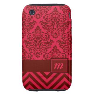 Diseñador de lujo de Chevron del damasco del Tough iPhone 3 Cárcasa