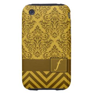 Diseñador de lujo de Chevron del damasco del Tough iPhone 3 Protectores