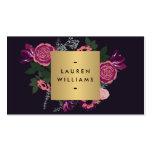Diseñador de lujo del adorno floral moderno oscuro tarjeta de visita
