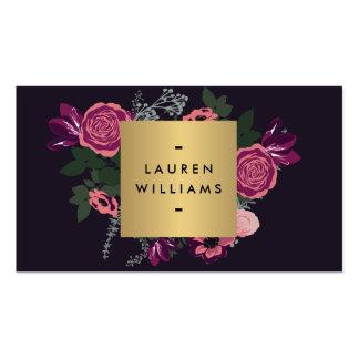 Diseñador de lujo del adorno floral moderno oscuro tarjetas de visita