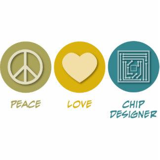 Diseñador de microprocesador del amor de la paz escultura fotográfica