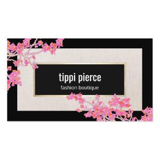Diseñador de moda de lino beige negro floral tarjetas de visita