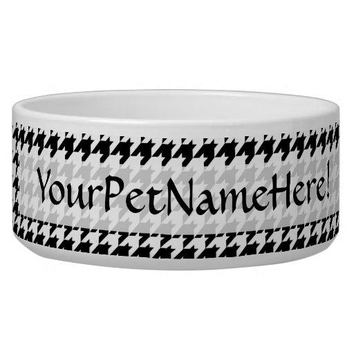Diseñador de moda elegante negro/blanco de comedero para mascota