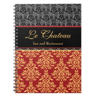 Diseñador dorado barroco elegante del damasco cuadernos