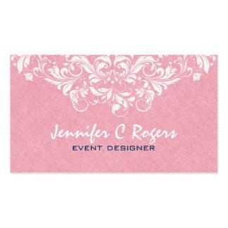 Diseñador floral blanco de lino rojo coralino del tarjetas de visita