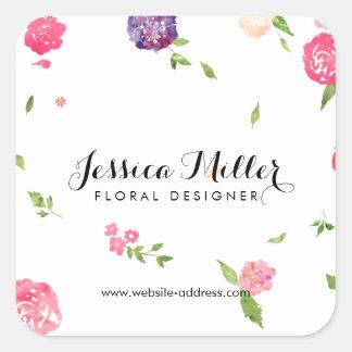 Diseñador floral del arte de la acuarela del pegatina cuadrada