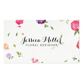 Diseñador floral del arte de la acuarela del tarjetas de visita