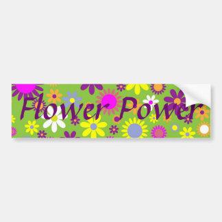 Diseñador floral del flower power retro alegre etiqueta de parachoque