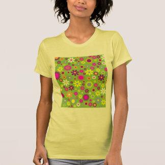 Diseñador floral del flower power retro alegre camisetas
