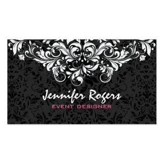 Diseñador floral negro y blanco del acontecimiento tarjetas de visita