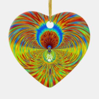 Diseñador gráfico ardiente del fuego adorno navideño de cerámica en forma de corazón
