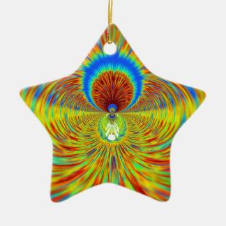 Diseñador gráfico ardiente del fuego adorno navideño de cerámica en forma de estrella