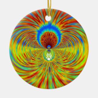 Diseñador gráfico ardiente del fuego adorno navideño redondo de cerámica