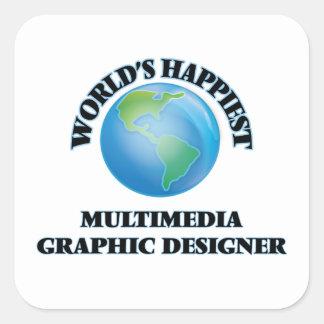 Diseñador gráfico de las multimedias más felices pegatina cuadrada