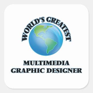 Diseñador gráfico de las multimedias más grandes pegatina cuadrada