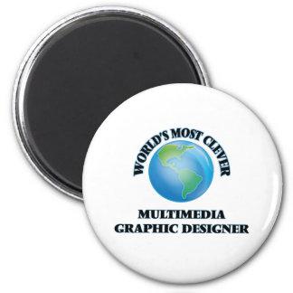 Diseñador gráfico de las multimedias más listas iman para frigorífico