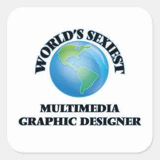 Diseñador gráfico de las multimedias más pegatina cuadrada