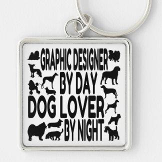 Diseñador gráfico del amante del perro llavero cuadrado plateado