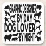 Diseñador gráfico del amante del perro posavasos de bebida