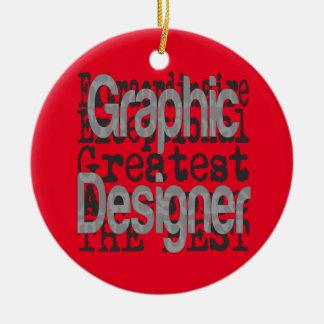 Diseñador gráfico Extraordinaire Adorno Navideño Redondo De Cerámica