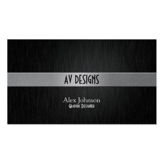 Diseñador gráfico negro y de plata elegante tarjetas de visita