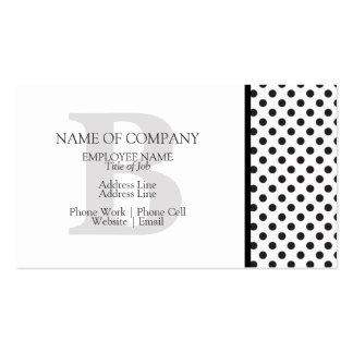 Diseñador gris de los lunares blancos negros con tarjetas de visita