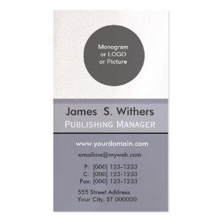 Diseñador gris del monograma de las iniciales del  tarjetas de visita