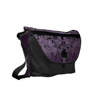 Diseñador metálico púrpura y negro bolsa messenger