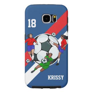 Diseñador personalizado del fútbol de los chicas funda samsung galaxy s6