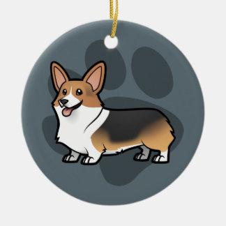 Diseñe a su propio mascota adorno navideño redondo de cerámica