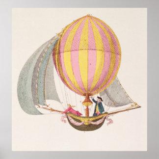 Diseñe para un dirigible, francés, c.1785 póster