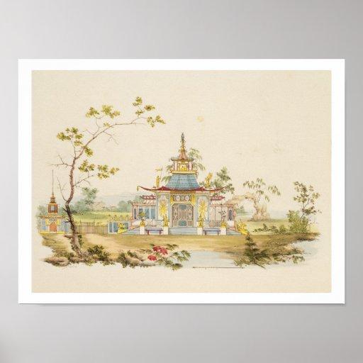 Diseñe para un templo chino, c.1810 (pluma y tinta impresiones