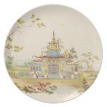 Diseñe para un templo chino, c.1810 (pluma y tinta plato de cena