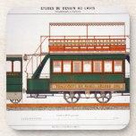 Diseñe para una tranvía del vapor, platee 126 'del posavasos de bebidas