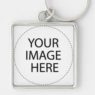 Diseñe su propio ~ crean su propio regalo de encar llavero cuadrado plateado