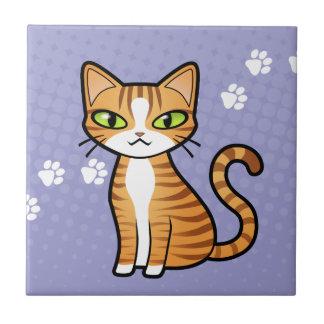 Diseñe su propio gato del dibujo animado azulejo cuadrado pequeño