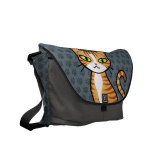 Diseñe su propio gato del dibujo animado bolsa messenger