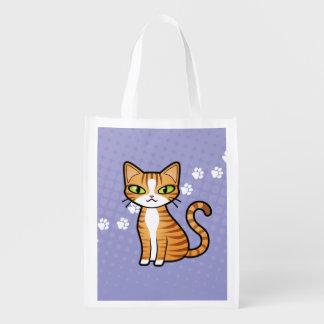 Diseñe su propio gato del dibujo animado bolsa reutilizable