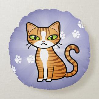 Diseñe su propio gato del dibujo animado cojín redondo